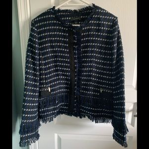 Halogen Fringe Tweed Jacket